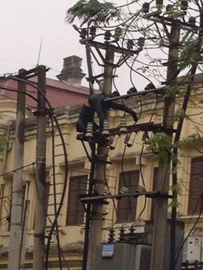 Hải Phòng: Thót tim nam thanh niên nhào lộn trên cột điện 1