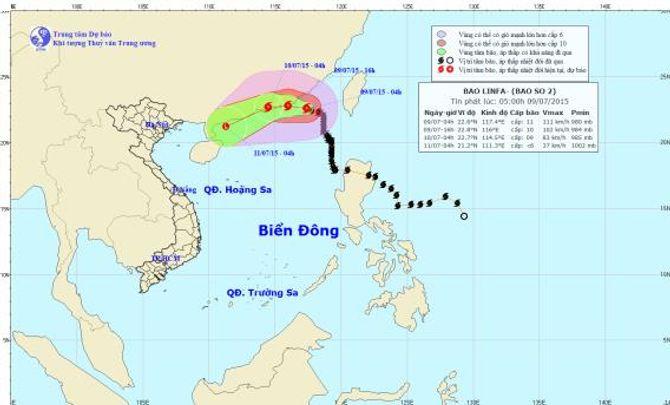 Diễn biến mới nhất về cơn bão số 2 trên Biển Đông