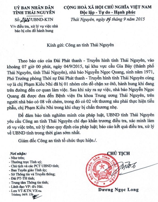 Chủ tịch tỉnh Thái Nguyên chỉ đạo về vụ nhà báo bị truy sát