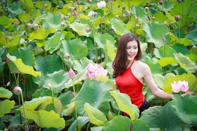 Đẹp mê hồn hình ảnh thiếu nữ Việt áo yếm bên hoa sen - Ảnh 2
