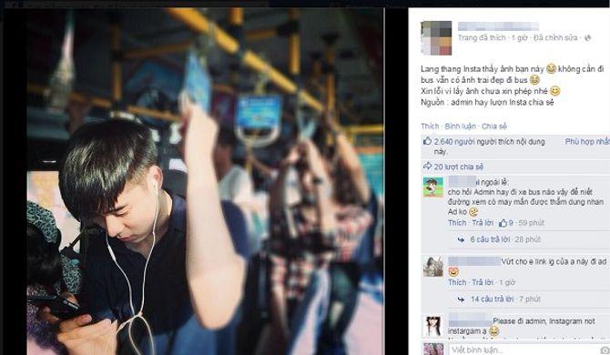 """Nhiều cô gái """"bấn loạn"""" vì anh chàng điển trai trên xe bus"""