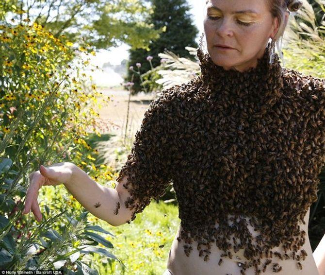 Kinh hãi cô gái để 12.000 con ong phủ kín ngực trần thay cho áo - Ảnh 3