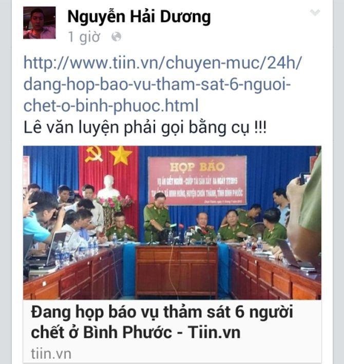 Nghi can thảm sát ở Bình Phước bị bắt, facebook cá nhân vẫn hoạt động