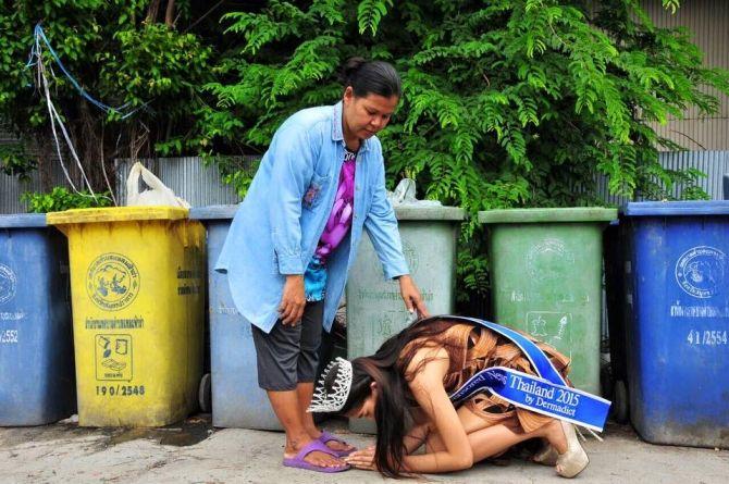 Hình ảnh trái ngược gây tranh cãi của Hoa hậu Thái Lan và Hoa hậu Kỳ Duyên - Ảnh 2