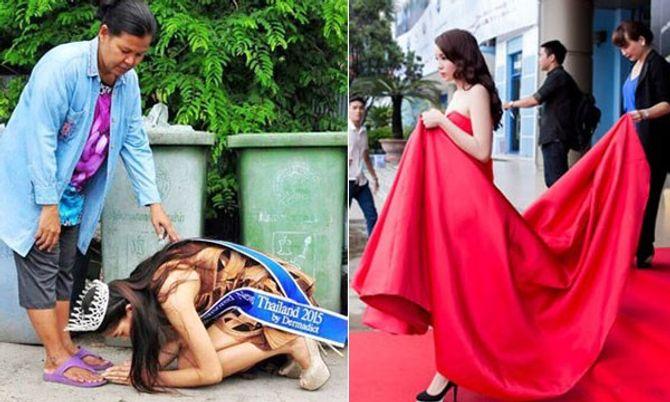 Hình ảnh trái ngược gây tranh cãi của Hoa hậu Thái Lan và Hoa hậu Kỳ Duyên - Ảnh 1