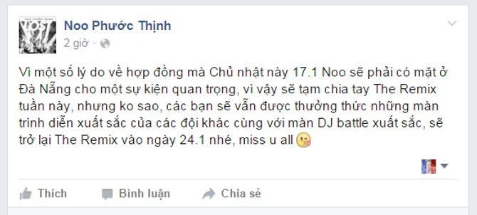 Noo Phước Thịnh không tham gia liveshow 3 The Remix 2016 - Ảnh 2