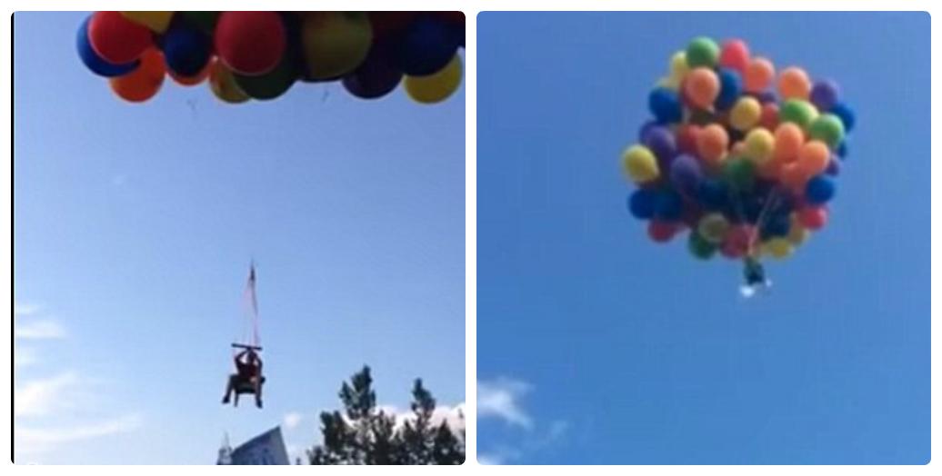 Clip bay lên trời như phim hoạt hình nhờ hơn 100 quả bóng bay  - Ảnh 1