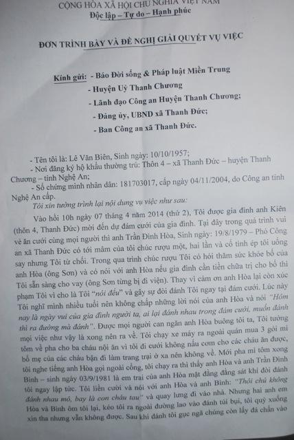 Nghệ An: Phó công an xã bị tố đánh người nhập viện - Ảnh 1