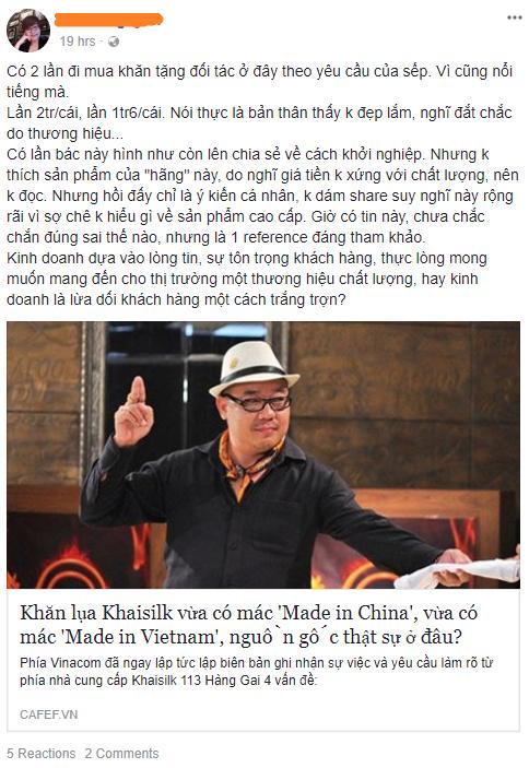 """Cửa hàng lụa Khaisilk lặng lẽ đóng cửa Fanpage trước nghi vấn """"made in China"""" của khách - Ảnh 3"""