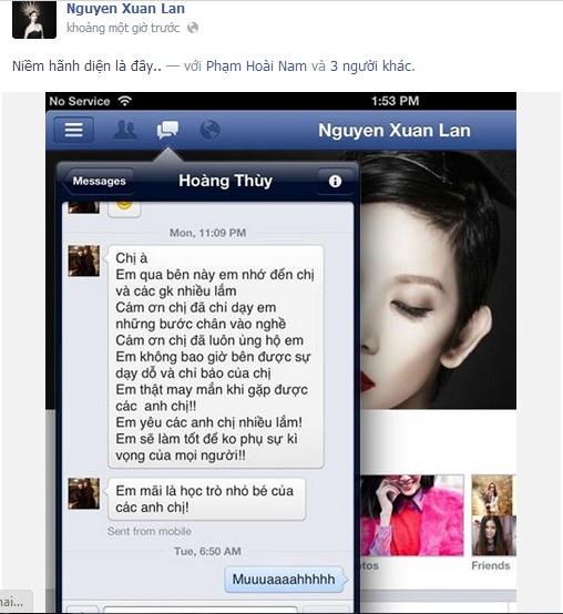 Facebook sao 24h: Xuân Lan hãnh diện về Hoàng Thùy - Ảnh 1