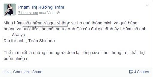 Dân mạng bóc mẽ status tiễn biệt Toàn Shinoda của Hương Tràm - Ảnh 1
