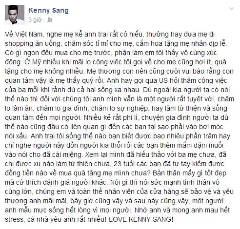 """""""Em sinh đôi"""" của Kenny Sang hết lời khen ngợi anh trai - Ảnh 1"""
