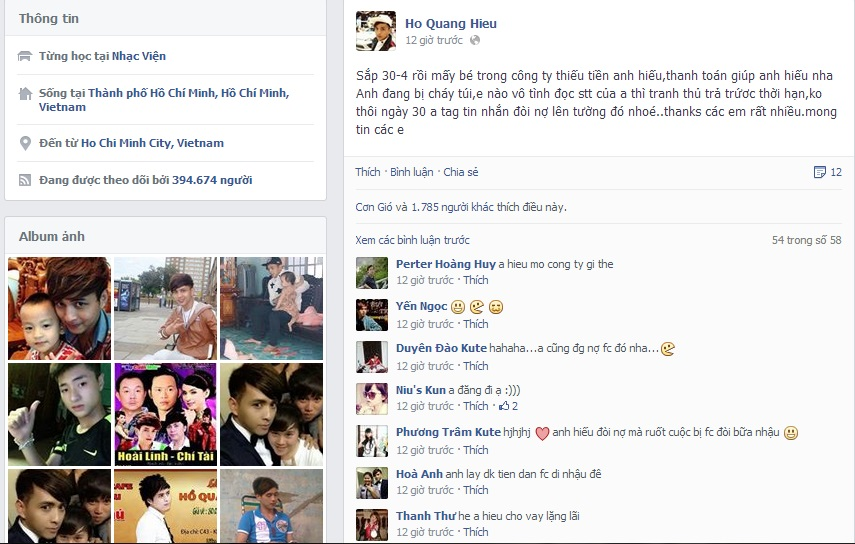 Hồ Quang Hiếu bị fan chỉ trích vì lên facebook đòi nợ - Ảnh 1