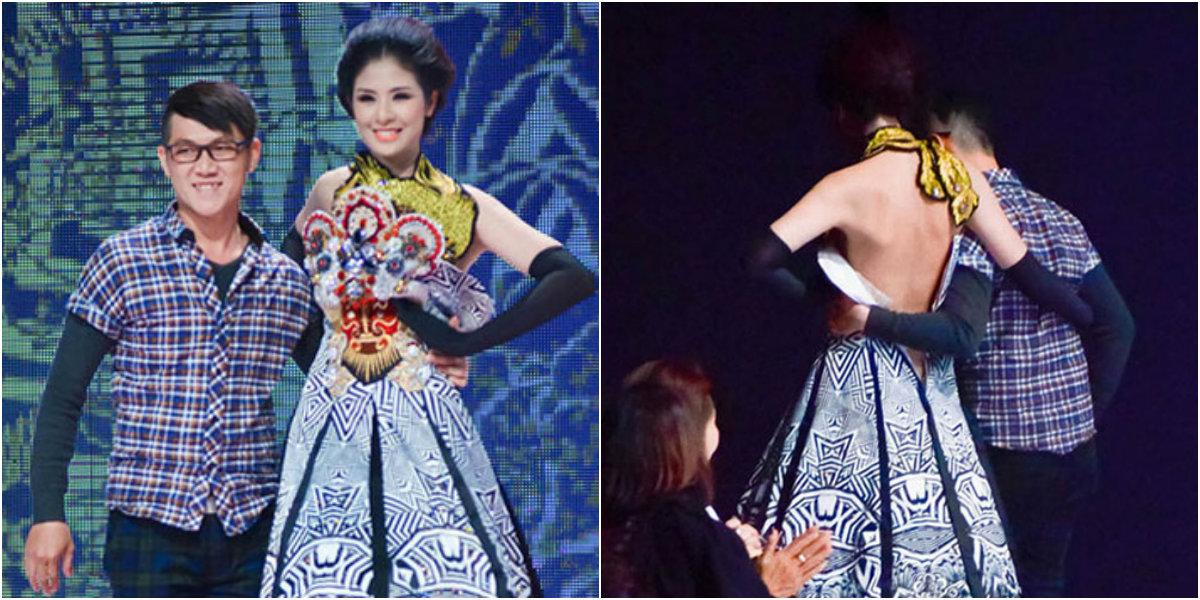 Sao Việt sợ xanh mặt vì sự cố tuột khóa váy, áo trên sân khấu - Ảnh 1