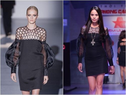 Người mẫu Thu Hiền diện váy nhái Gucci trên sàn diễn - Ảnh 2