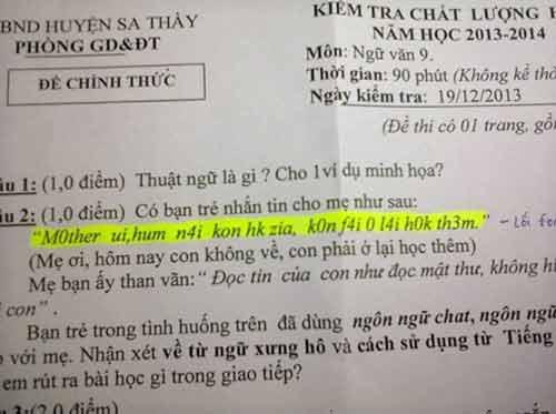 """Thú vị đề thi Ngữ Văn lớp 9 hỏi về """"ngôn ngữ chat"""" của giới trẻ - Ảnh 1"""