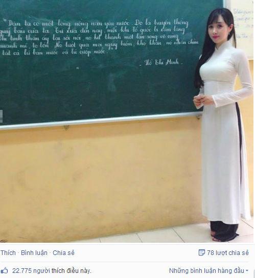 Cô giáo xinh xắn viết chữ đẹp gây sốt - Ảnh 1