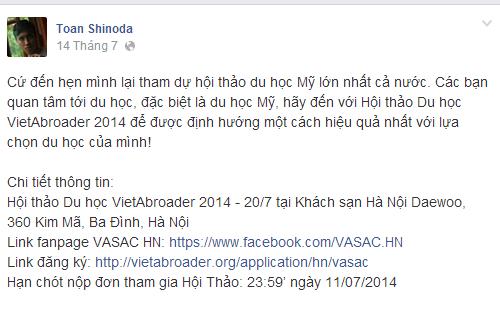 Dòng Status cuối cùng trên facebook của Toàn Shinoda - Ảnh 1