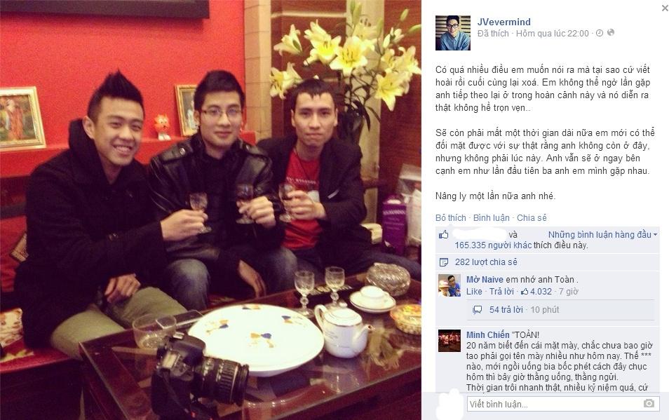 """Hậu lễ tang Toàn Shinoda: JVevermind viết """"Nâng ly một lần nữa"""" - Ảnh 1"""