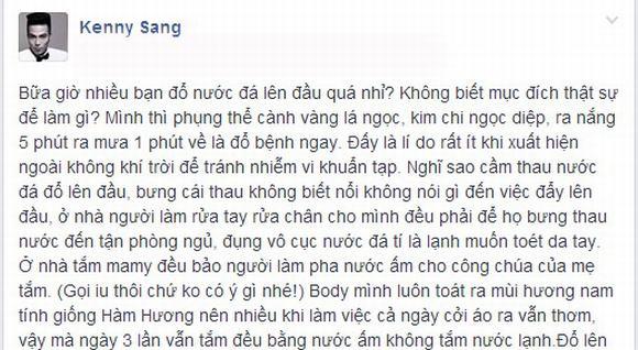 """Kenny Sang: Không dội nước đá vì body """"thơm tho"""" như Hàm Hương - Ảnh 1"""
