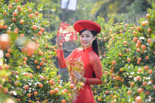 Mê mẩn với nhan sắc xinh đẹp của nữ sinh Kinh tế bên vườn quất  - Ảnh 3