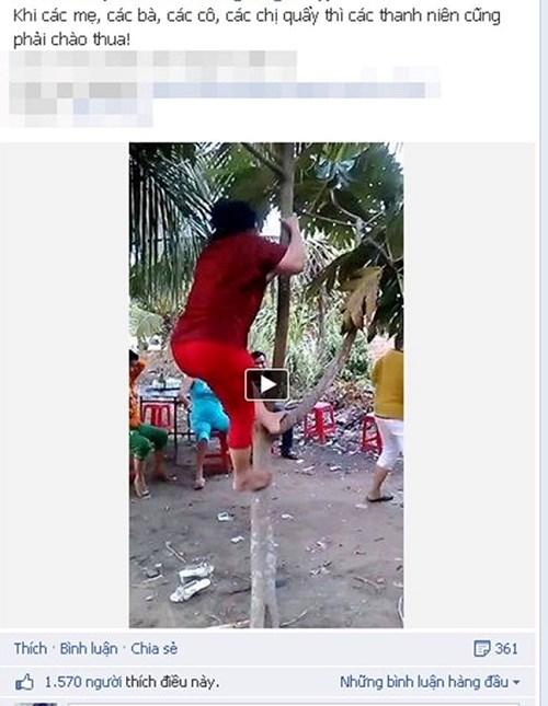 Cười nghiêng ngả với clip quý bà leo cây, nhảy nhạc sàn bốc lửa - Ảnh 1