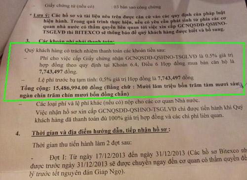 """Thu """"phí dịch vụ sổ đỏ"""" 0,5%, Bitexco cố tình lừa dân? - Ảnh 1"""