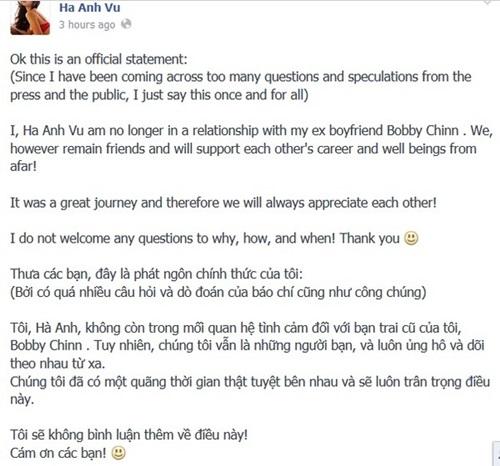 Hà Anh công bố chia tay đầu bếp Bobby Chinn - Ảnh 1