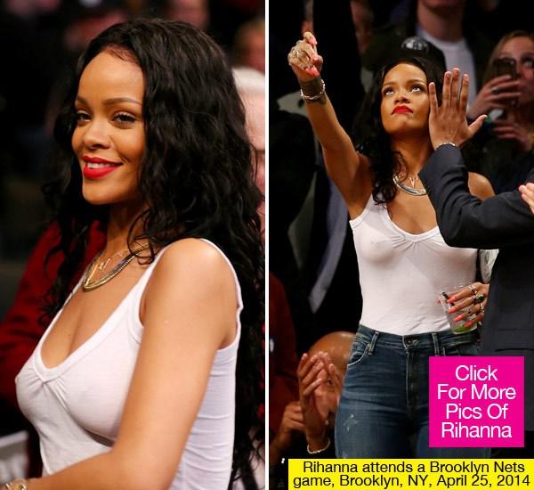 """Rihanna vẫn vô tư đi xem bóng rổ dù """"quên áo ngực"""" ở nhà - Ảnh 1"""