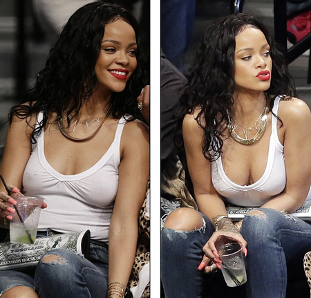 """Rihanna vẫn vô tư đi xem bóng rổ dù """"quên áo ngực"""" ở nhà - Ảnh 2"""