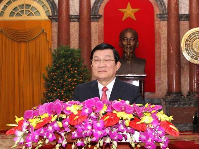 Chủ tịch nước Trương Tấn Sang chúc Tết Ất Mùi 2015 - Ảnh 1