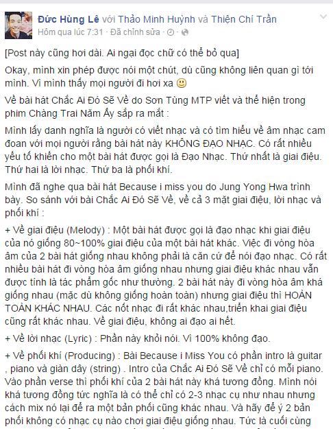 """Nhạc sĩ Việt tranh cãi vì """"Chắc ai đó sẽ về"""" của Sơn Tùng M -TP - Ảnh 2"""