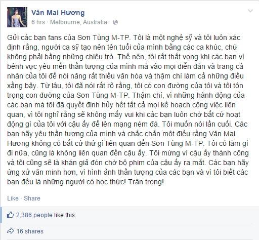 Văn Mai Hương bức xúc vì bị fans Sơn Tùng xúc phạm  - Ảnh 2