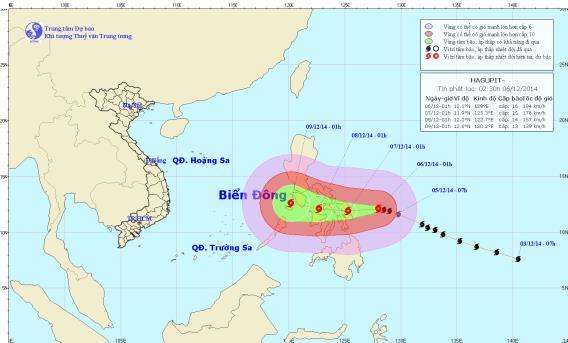 Siêu bão Hagupit có khả năng đổ bộ vào biển Đông - Ảnh 1