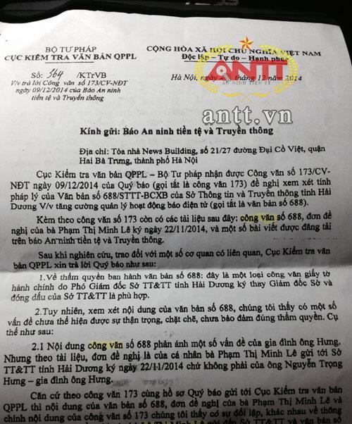 Bộ Tư pháp nói gì về văn bản sai sự thật của Sở TTTT Hải Dương? - Ảnh 1
