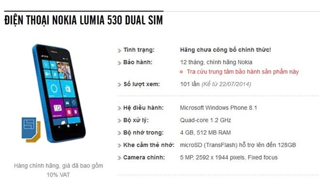 Lumia 530 hai SIM, chip 4 nhân, bán ở VN tháng 8 - Ảnh 1