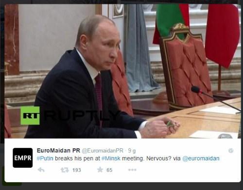 Ông Putin bẻ gãy bút chì trên bàn hòa đàm Minsk - Ảnh 1