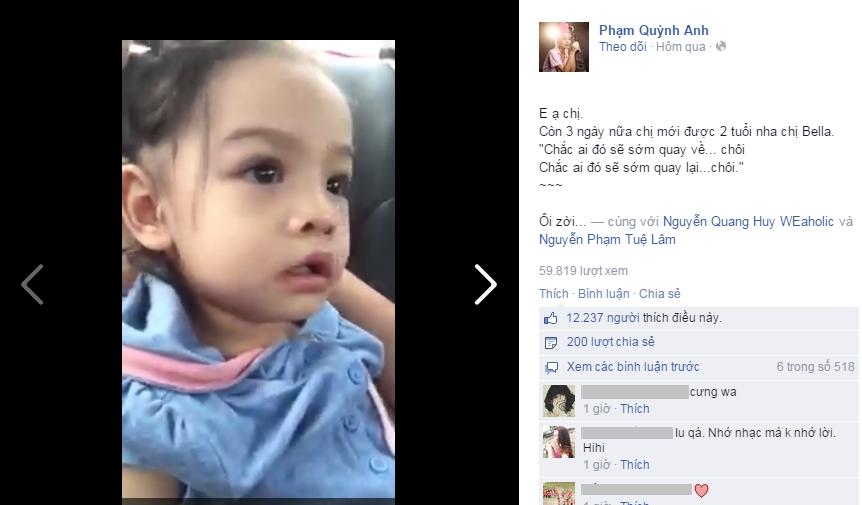 """Clip: Con gái Phạm Quỳnh Anh hát """"Chắc ai đó sẽ về"""" của Sơn Tùng - Ảnh 1"""