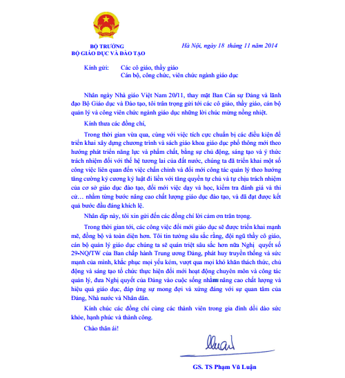 Bộ trưởng GD-ĐT gửi thư chúc mừng ngày nhà giáo Việt Nam - Ảnh 1