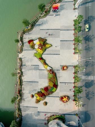 Ngắm bản đồ Việt Nam bằng hoa lớn nhất bên sông Hàn  - Ảnh 1