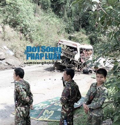 Bảo vệ nghiêm ngặt hiện trường vụ nổ xe bất thường ở Lào - Ảnh 1