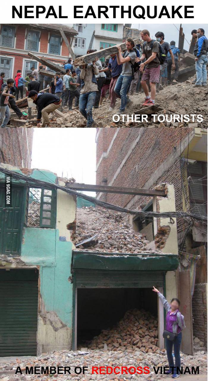 """Ảnh cán bộ Hội Chữ thập đỏ """"tự sướng ở Nepal"""" lên mạng nước ngoài - Ảnh 1"""