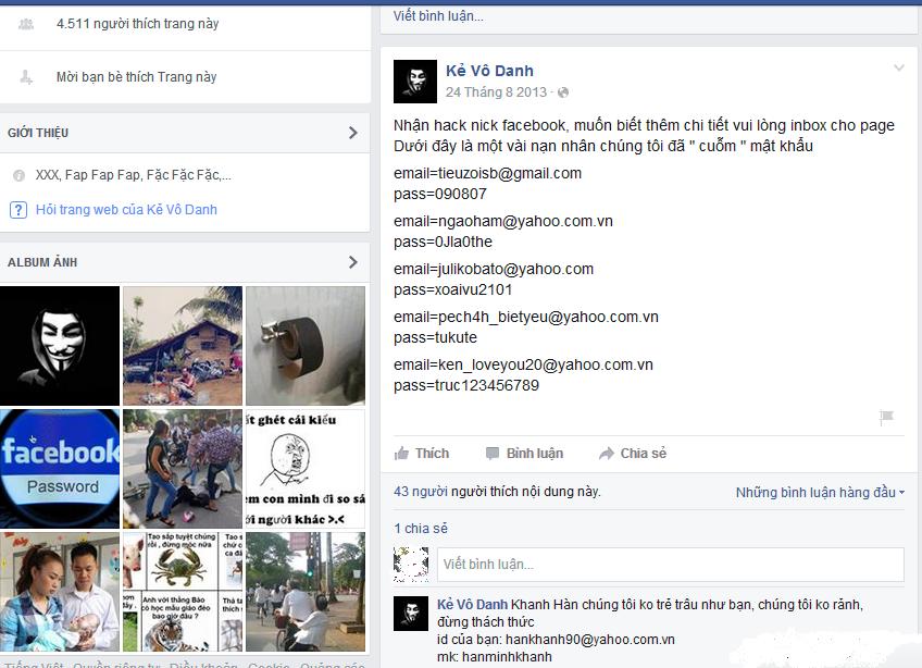 Dịch vụ đánh cắp Facebook: Nhiều ngôi sao cũng là nạn nhân - Ảnh 1