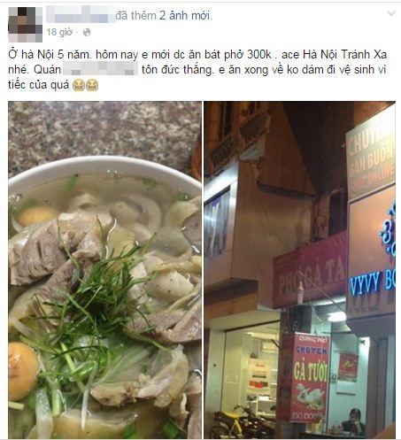 """Quán bình dân tại Hà Nội bị tố """"chém đẹp"""" 300.000 đồng/bát phở gà ta - Ảnh 1"""
