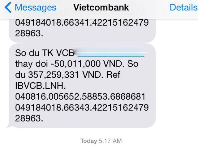 Ngân hàng Vietcombank lên tiếng sau sự cố khách hàng mất 500 triệu đồng - Ảnh 1