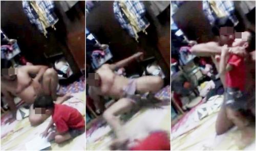 Dân mạng phẫn nộ với clip bố dùng chân đánh đập con để dạy học - Ảnh 1