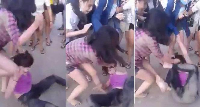 Xôn xao clip nữ sinh lớp 'nổi tiếng ngoan' đánh nhau, lột đồ - Ảnh 1