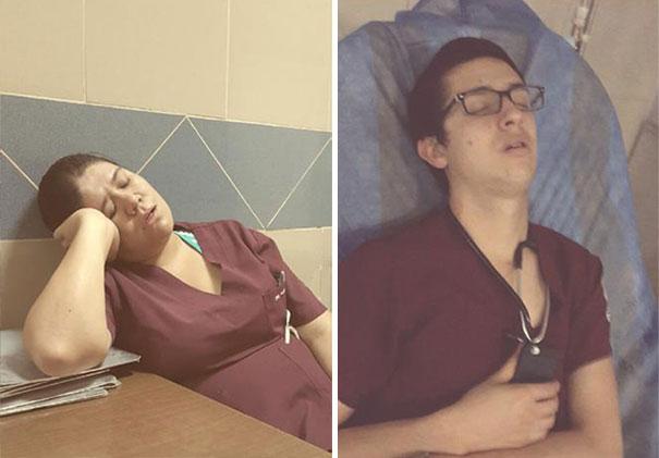 """Chùm ảnh bác sĩ ngủ gật trong ca trực gây """"sốt"""" mạng - Ảnh 7"""