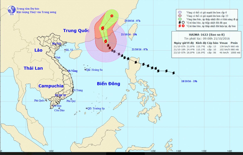 Thông tin mới nhất cơn bão số 8 ngày 21/10 - Ảnh 1