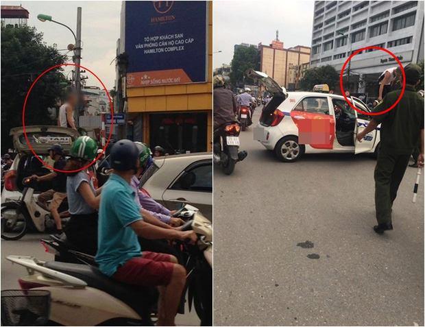Tài xế taxi leo lên nóc xe ăn vạ, kêu nhiễm HIV khi bị CST dừng xe - Ảnh 1